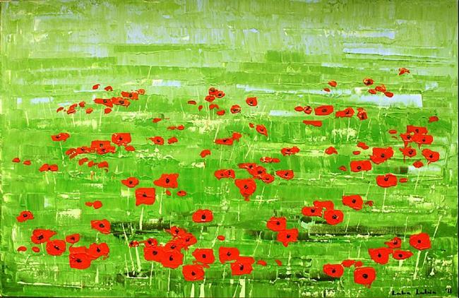 Art: Rode Bloemen - Papavers (s) by Artist Luba Lubin