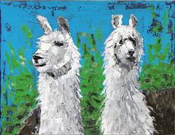 Art: Two Llamas - oil by Artist Luba Lubin