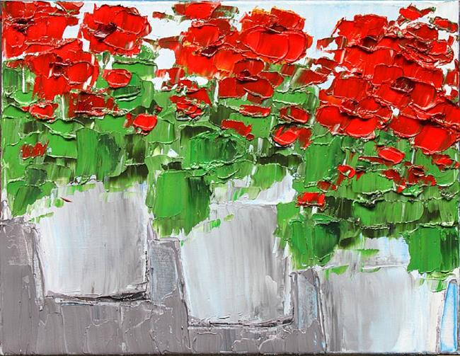 Art: Red Geraniums - House Plant - oil by Artist Luba Lubin