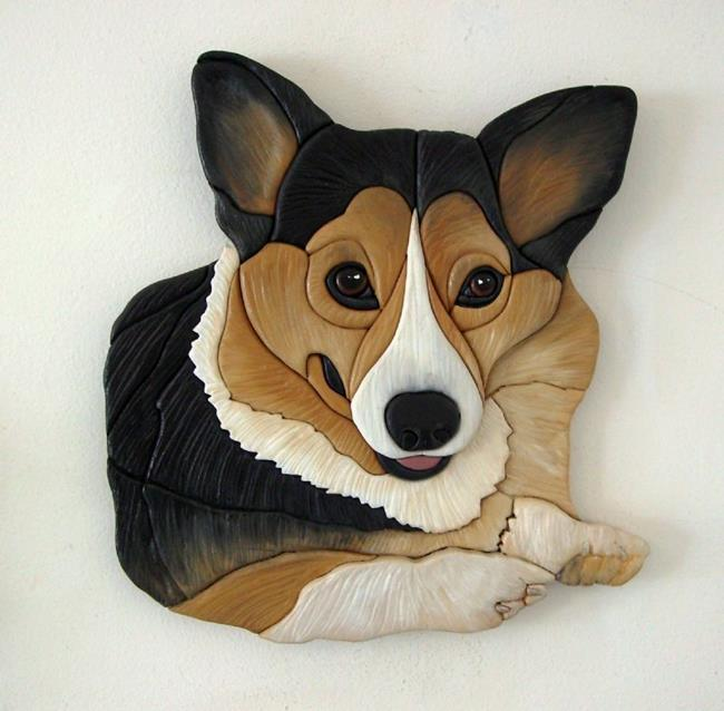 Art: 'MEGAN' CORGI.... ORIGINAL PAINTED INTARSIA ART by Artist Gina Stern