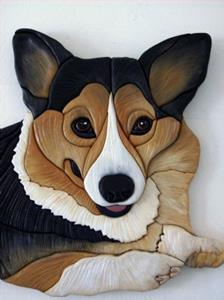 Detail Image for art 'MEGAN' CORGI.... ORIGINAL PAINTED INTARSIA ART
