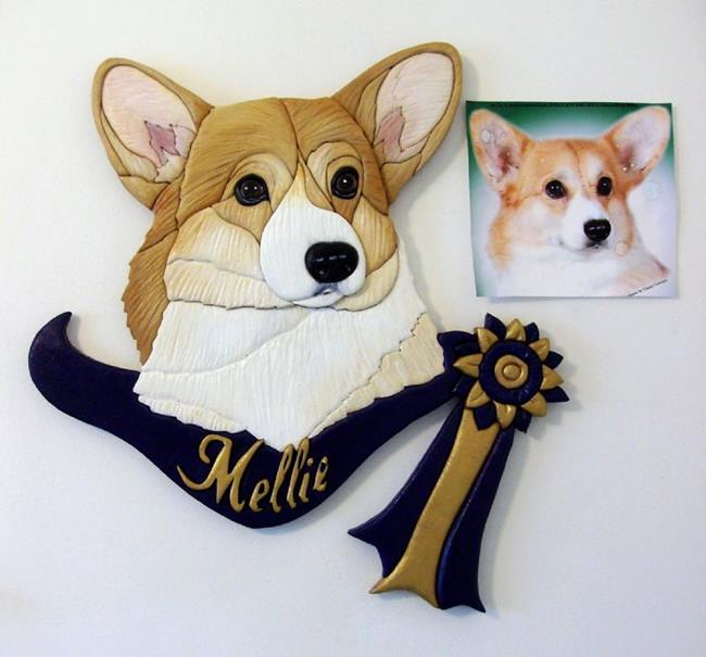Art: MELLIE' CORGI CUSTOM INTARSIA ART by Artist Gina Stern