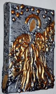 Detail Image for art PRAYER GOLD ANGEL on SILVER