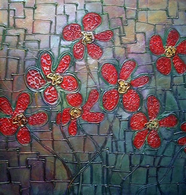 Art: RED FLOWERS in RAINBOW LIGHT by Artist LUIZA VIZOLI