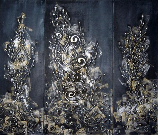 Art: LIGHT THE DARKNESS-TRIPTYCH ART by Artist LUIZA VIZOLI