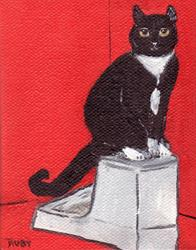 Art: Red Cat by Artist Marcia Ruby
