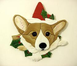 Art: Mistletoe Corgi...Original Painted Intarsia by Artist Gina Stern