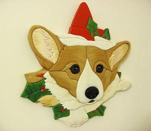 Detail Image for art Mistletoe Corgi...Original Painted Intarsia