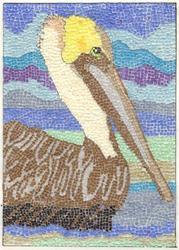 Art: FLORIDA PELICAN PAPER MOSAIC by Artist Theodora Demetriades