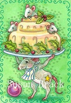 Art: MICE LOVE CHRISTMAS PUDDING by Artist Susan Brack
