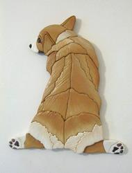 Art: MEGAN CORGI BUNNY BUTT ORIGINAL PAINTED INTARSIA ART by Artist Gina Stern