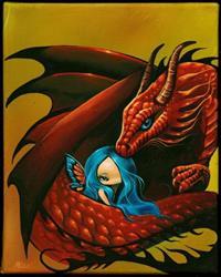Art: Blue Eyed Dragon and Fairy by Artist Nico Niemi