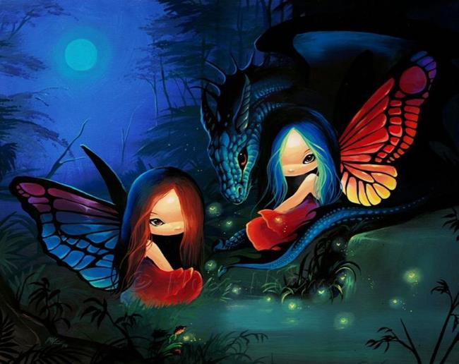 Art: Moonlight and Fireflies by Artist Nico Niemi