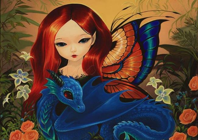 Art: Little Dragon and Rose by Artist Nico Niemi