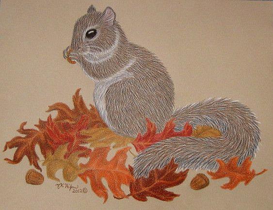 Art: Autumn Snack (SOLD) by Artist Jackie K. Hixon
