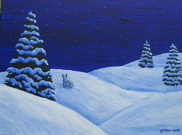Art: Winter's Night (SOLD) by Artist Jackie K. Hixon