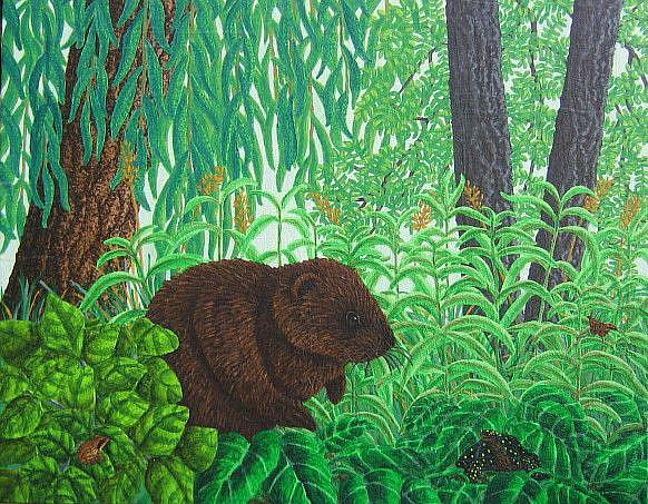 Art: Muskrat Neighbors by Artist Jackie K. Hixon