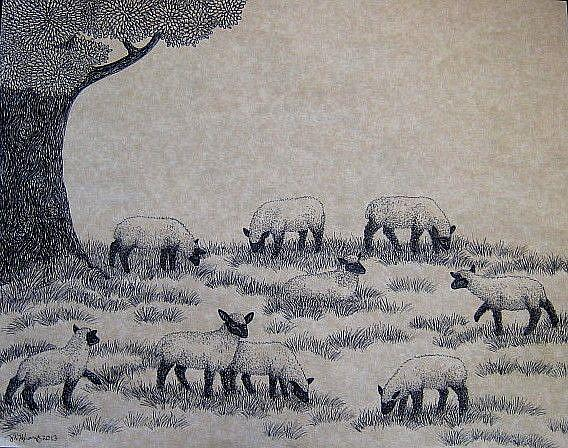 Art: Sheep Meadow (SOLD) by Artist Jackie K. Hixon