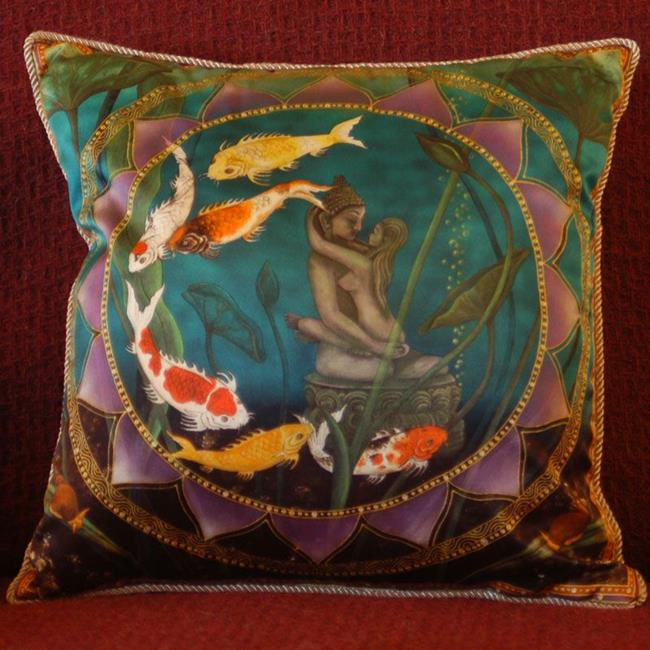 Art: Sacred Pond Silk Pillow by Artist Nadean O'Brien