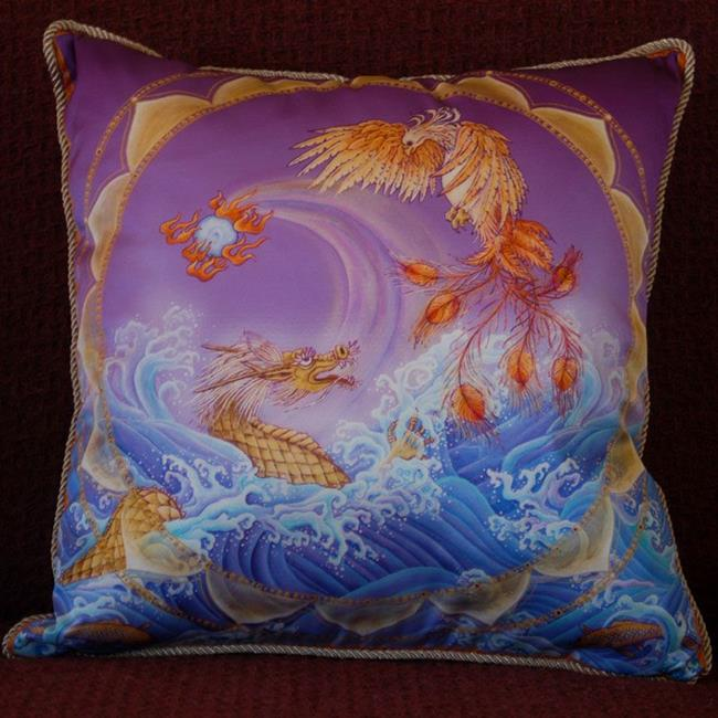 Art: Phoenix and Dragon Silk Pillow by Artist Nadean O'Brien