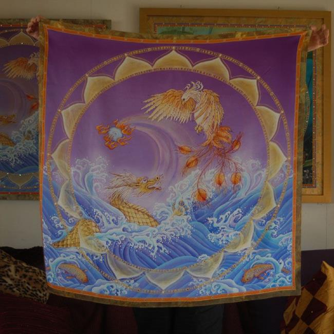 Art: Phoenix and Dragon Wall Hanging or Square by Artist Nadean O'Brien