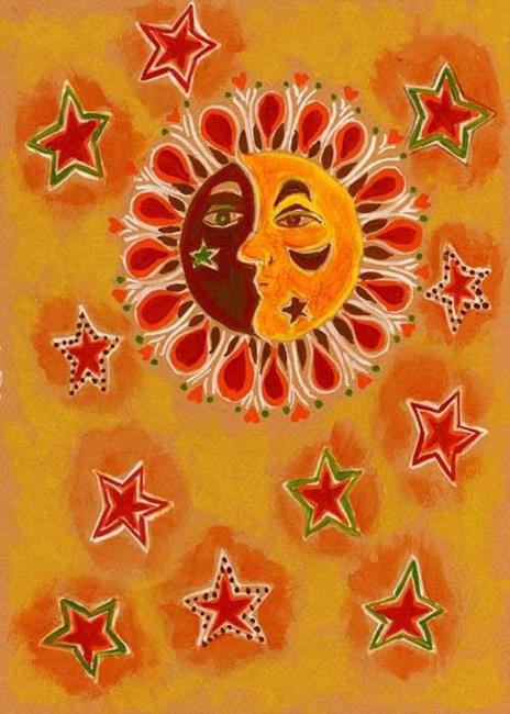 Art: Mandala,Sun,Moon,Stars by Artist Naquaiya