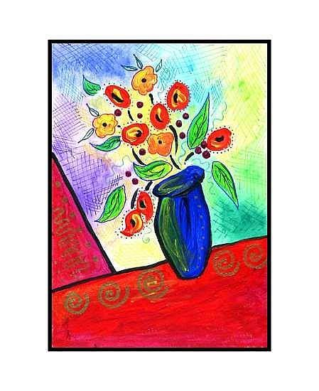 Art: Blue Vase by Artist Christine Wasankari