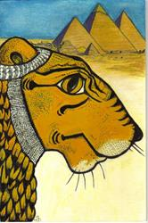 Art: Meet The Lion...Protector of Pharaohs; Guardian of the Underworld by Artist Marcine (Marcy) Dillon