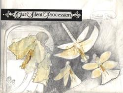 Art: Journal - Our Silent Procession - Flower Petals & Pencil -  by Artist Marcine (Marcy) Dillon