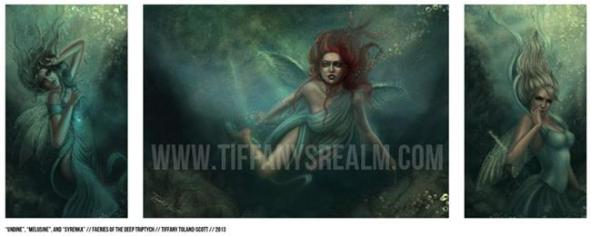 Art: Faeries of the Deep triptych by Artist Tiffany Toland-Scott