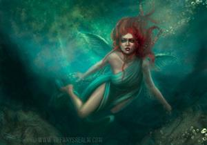 Detail Image for art Faeries of the Deep triptych