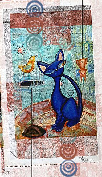 Art: Black Cat named Blue: the digital version by Artist Alma Lee