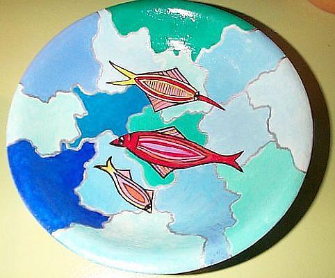 Art: Three Fishes Milepebbles Bowl by Artist Marina Owens