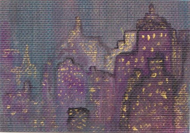 Art: City Scape ATC (sold) by Artist PJ Gorman