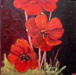 Art: Red Cosmos  by Artist Barbara Haviland