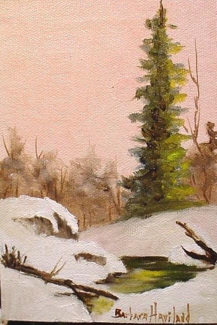 Art: A Snow Scene with Peach by Artist Barbara Haviland