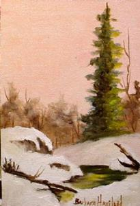 Detail Image for art A Snow Scene with Peach