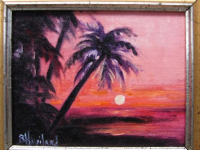Art: Palm Sunset MIniature oil painting by Artist Barbara Haviland