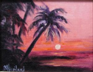 Detail Image for art Palm Sunset MIniature oil painting