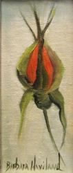 Art: Rose Bud miniature oil by Barbara Haviland by Artist Barbara Haviland