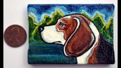 Art: Beagle Landscape by Artist Melinda Dalke
