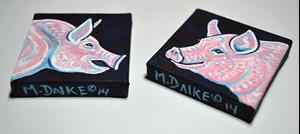 Detail Image for art Two Pig Mini Paintings