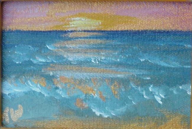 Art: Beach Sunrise Miniature SOLD by Artist Terri L West