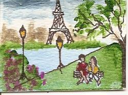 Art: In Paris At Last miniature original by Artist Nancy Denommee