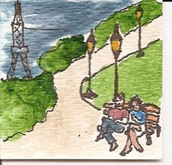 Art: Chatting in Paris original miniature painting by Artist Nancy Denommee