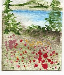 Art: Field of Wildflowers original miniature painting by Artist Nancy Denommee