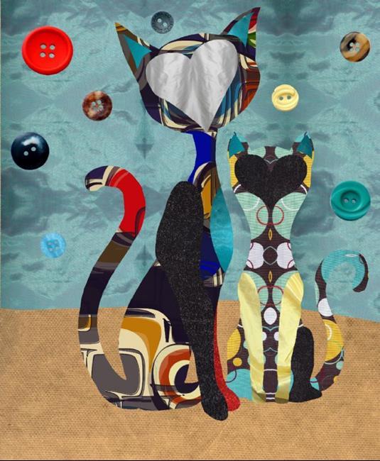 Art: Couch Cats by Artist Carissa M Martos