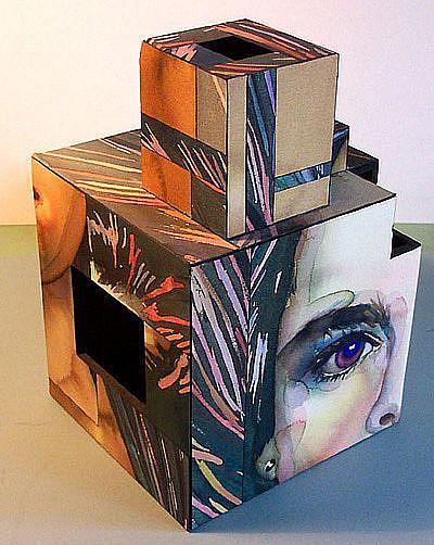 Art: Brook Face Cube by Artist Lori Rase Hall