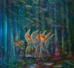 Art: Forest Flower Fairies by Artist Claire Bull