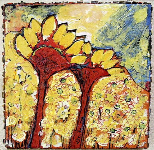 Art: Sunflower Couple - Facing the Storm by Artist Jennifer Lommers